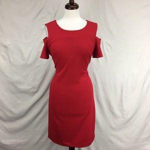 Tommy Hilfiger Red Off The Shoulder Sheath Dress